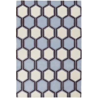 Inhabit Designer Blue/Off White Area Rug Rug Size: 79 x 106