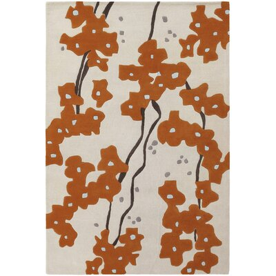 Stoltz Hand Tufted Ivory/Orange Area Rug Rug Size: 79 x 106