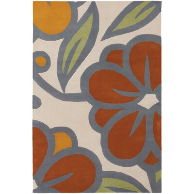 Stoltz Ivory/Orange Area Rug Rug Size: 79 x 106