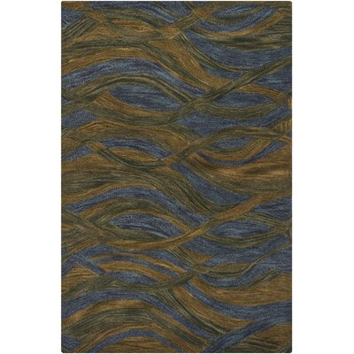 Donora Blue/Brown Area Rug Rug Size: 5 x 76