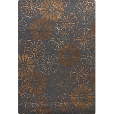 Donora Dark Gray Area Rug Rug Size: 79 x 106