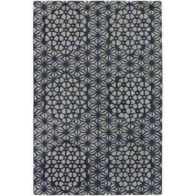 Samsel Black/White Rug Rug Size: 79 x 106