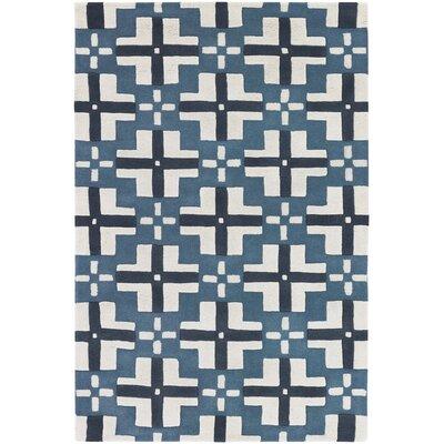 Garwood Blue/Ivory Rug Rug Size: 79x106