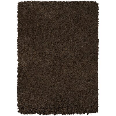 Poligan Shag Dark Brown Area Rug Rug Size: 79 x 106