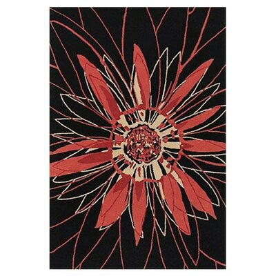 Black/Red Area Rug Rug Size: Round 79
