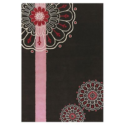 Black/Pink Area Rug Rug Size: Rectangle 5 x 76