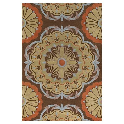 Wool Brown/Orange Area Rug Rug Size: Round 79