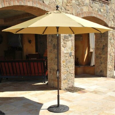 9' Market Umbrella Fabric: Heather Beige, Frame Finish: White 737W76
