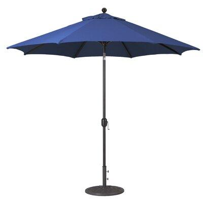 9 Market Umbrella Fabric: Navy, Frame Finish: Black