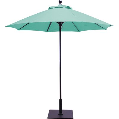 7.5' Market Umbrella Frame Finish: Black, Fabric: Pacific Blue