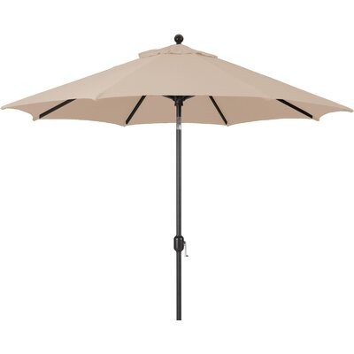 9 Market Umbrella Fabric: Heather Beige, Frame Finish: White