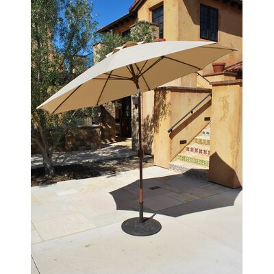 9 Market Umbrella Fabric: Antique Beige, Frame Finish: Mocha