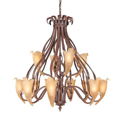 Fleur de Lis 12-Light Shaded Chandelier