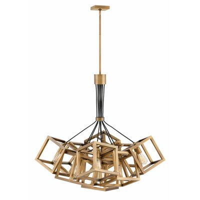 Reiber 9-Light Cluster Pendant Finish: Brushed Bronze, Size: 36.8 H x 36 W x 36 D