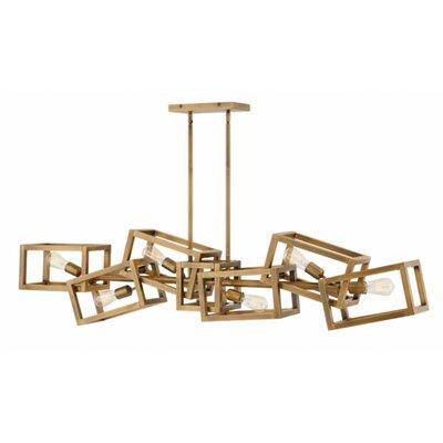 Ensemble Linear 6-Light Geometric Pendant Finish: Brushed Bronze