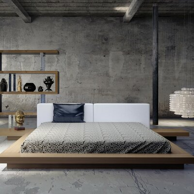 Sloan Upholstered Platform Bed Size: King, Finish: Walnut / White Leather