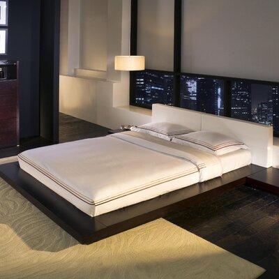 Modloft Worth Upholstered Platform Bed - Size: Queen, Finish: Wenge / White Leather