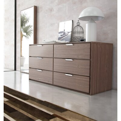 Thompson 6 Drawer Double Dresser Color: Walnut