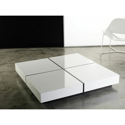 Coffee Table Base Finish: Black, Top Finish: White