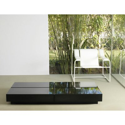 Dean Rectangle Coffee Table Base Finish: Black, Top Finish: Teak