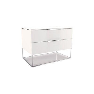 Bowery 2 Drawer Nightstand Color: White Matte on White Glass