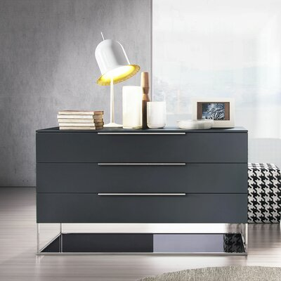 Bowery 3 Drawer Dresser Color: Asphalt Matte on Asphalt Glass