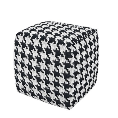 Hester Pouf Ottoman Upholstery: Black White Houndstooth