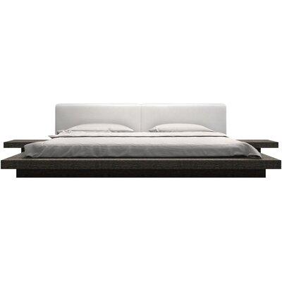 Sloan Upholstered Platform Bed Size: California King, Finish: Gray Oak / White Leather