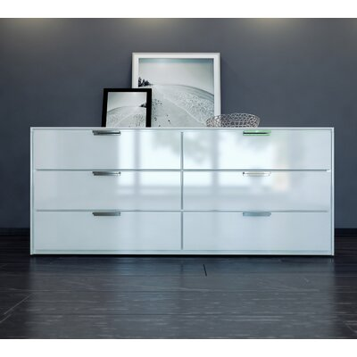 Thompson 6 Drawer Double Dresser Color: White Lacquer