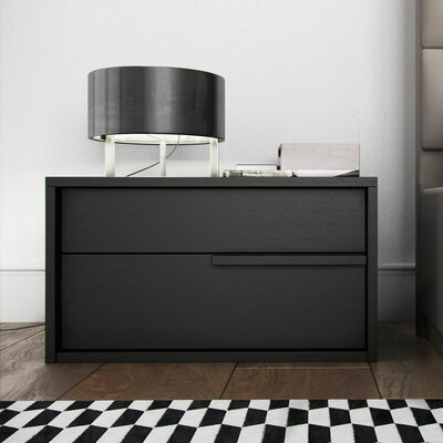 Jane 2 Drawer Nightstand Color: Gray, Drawer: Right