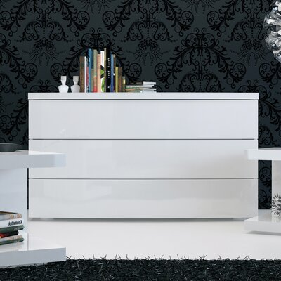 Ludlow 3 Drawer Dresser Color: White Lacquer