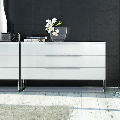 Bowery 3 Drawer Dresser Color: White Matte on White Glass