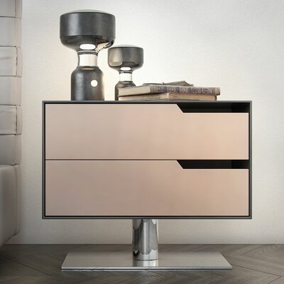 Park 2 Drawer Nightstand Color: Asphalt on Frappe Matte, Orientation: Left