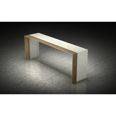 Beckenham Console Table Finish: Beige Lacquer / Natural Oak