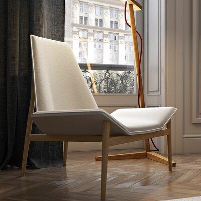 Kent Lounge Chair Finish: Raw Linen / White over Teak