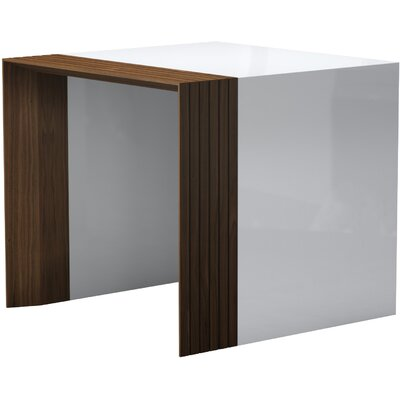 Beckenham End Table Color: White Lacquer / Walnut