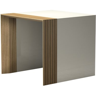 Beckenham End Table Finish: Beige Lacquer / Natural Oak