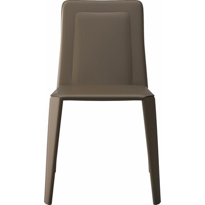 Grosseto Genuine Leather Upholstered Dining Chair (Set of 2) Finish: Reclaimed Dove Gray
