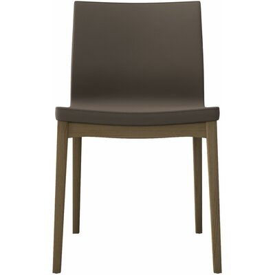Enna Genuine Leather Upholstered Dining Chair (Set of 2) Finish: Dove Gray on Natural Oak