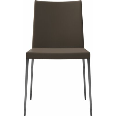 Asti Genuine Leather Upholstered Dining Chair (Set of 2) Finish: Dove Gray