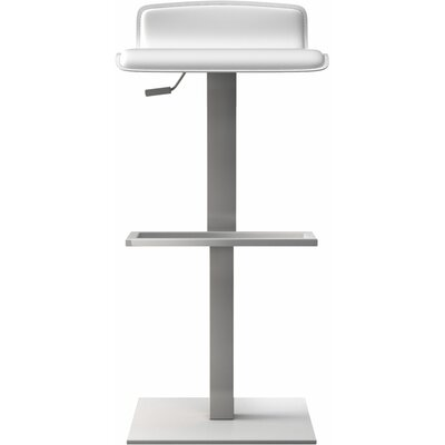 Messina Adjustable Height Bar Stool Finish: Reclaimed White on White Matte