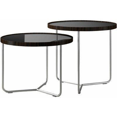 Adelphi 2 Piece Nesting Table Set Color: Black Lacquer on Cathedral Ebony