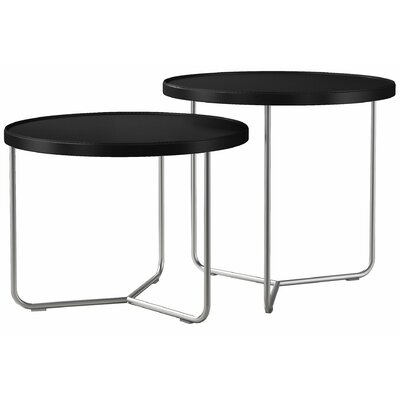Adelphi 2 Piece Nesting Table Set Color: Black