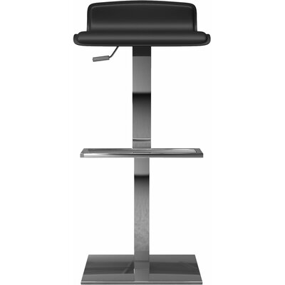 Messina Adjustable Height Bar Stool Finish: Black Reclaimed Leather