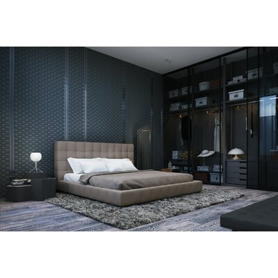 Thompson Upholstered Platform Bed Color: Moonbeam, Size: Queen