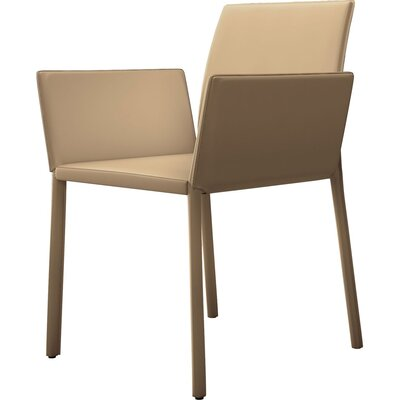 Sanctuary Genuine Leather Upholstered Dining Chair Finish: Dark Beige