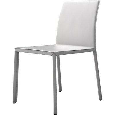 Sanctuary Genuine Leather Upholstered Dining Chair Finish: White