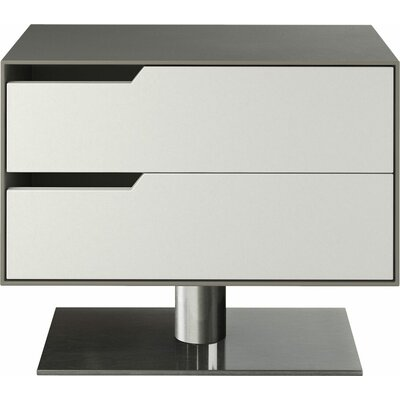 Park 2 Drawer Nightstand Color: Steeple Gray on White Matte, Orientation: Left
