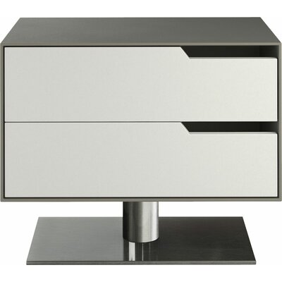 Park 2 Drawer Nightstand Color: Steeple Gray on White Matte, Orientation: Right