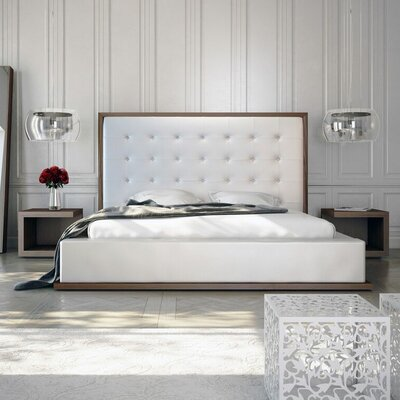 Ludlow Upholstered Platform Bed Size: Queen, Color: Walnut / White